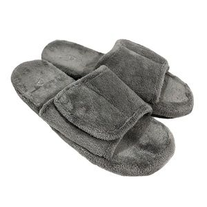 Acorn Plush Bath Spa Slippers Gray Size 12/13
